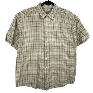 LL Bean Tan Plaid Linen Cotton Short Sleeve Shirt